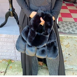 Handbags - PARIS Black faux fur bag